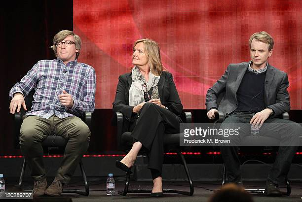 Actors Rhys Darby, Nancy Lenehan and Creator and Executive Producer David Hornsby speak during the 'How To Be A Gentleman' panel during the CBS...
