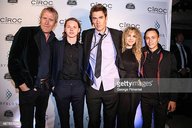 Actors Rhys Ifans and Jack Kilmer director Tim Godsall and actors Juno Temple and Keir Gilchrist attend the 'Len and Company' Party during the 2015...