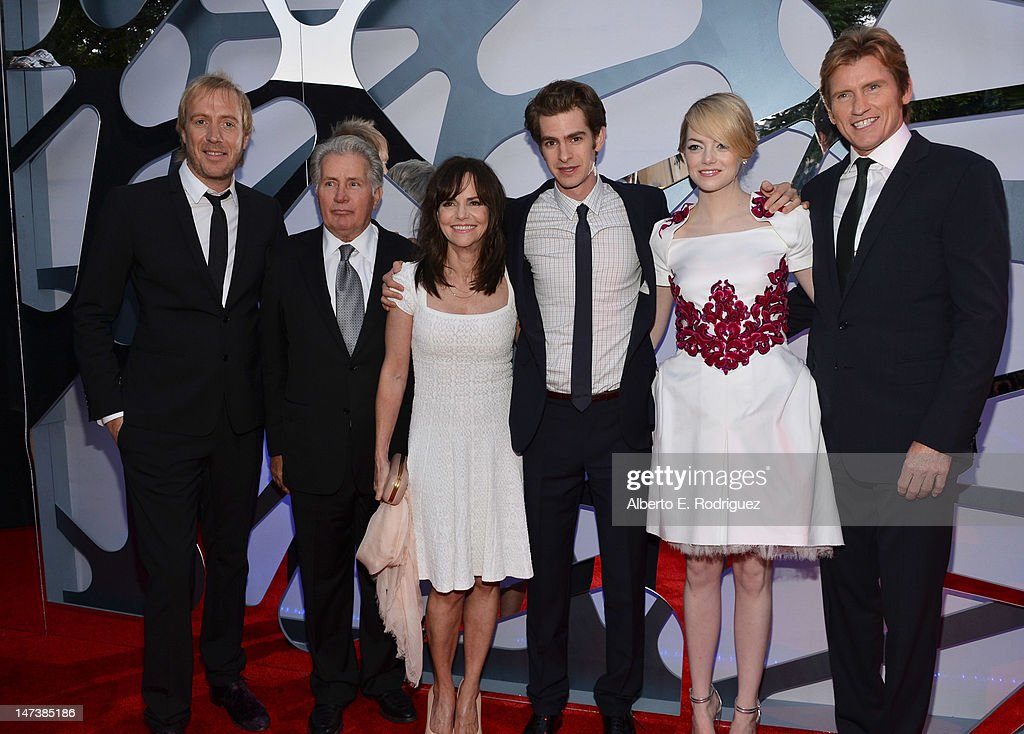 Actors Rhys Ifans, Martin Sheen, Sally Field, Andrew Garfield, Emma Stone, and Denis Leary arrives at the premiere of Columbia Pictures' 'The Amazing Spider-Man' at the Regency Village Theatre on June 28, 2012 in Westwood, California.
