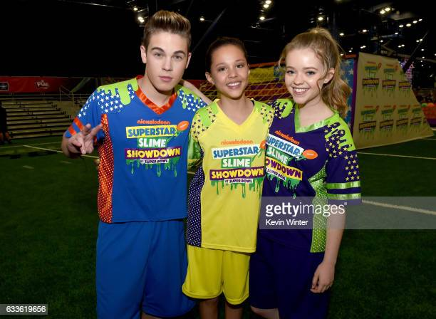 Actors Ricardo Hurtado Breanna Yde and Jade Pettyjohn at the taping of Nickelodeon's Superstar Slime Showdown at Super Bowl in Houston Texas...