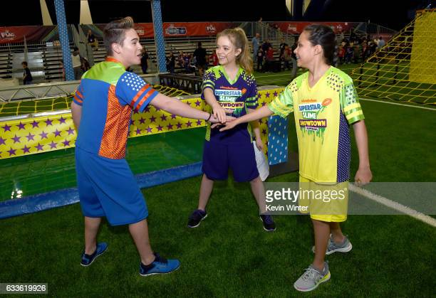 Actors Ricardo Hurtado Jade Pettyjohn and Breanna Yde at the taping of Nickelodeon's Superstar Slime Showdown at Super Bowl in Houston Texas...