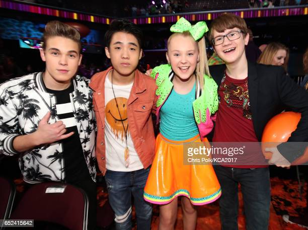 Actors Ricardo Hurtado Lance Lim Singer JoJo Siwa and actor Aidan Miner attend Nickelodeon's 2017 Kids' Choice Awards at USC Galen Center on March 11...