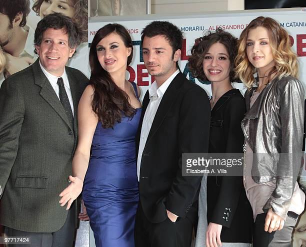Actors Riccardo Rossi Isabelle Adriani Nicolas Vaporidis Ana Caterina Morariu and Myriam Catania attend Tutto L'Amore Del Mondo photocall at Adriano...