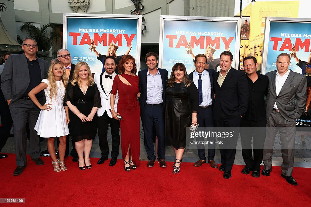 Actors Rich Williams, Mia Rose Frampton, Sarah Baker, Filmmaker Ben Falcone, actress Susan Sarandon, actor Mark Duplass, filmmaker Melissa McCarthy, actor Nat Faxon, executive producer Chris Henchy, producer Kevin J. Messick and Toby Emmerich, President and COO, New Line Cinema, attend the 'Tammy' Los Angeles premiere at TCL Chinese Theatre on June 30, 2014 in Hollywood, California.