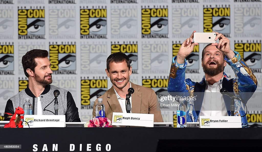 Actors Richard Armitage and Hugh Dancy and executive producer/creator Bryan Fuller attend the 'Hannibal' Savor the Hunt panel during Comic-Con International 2015 at the San Diego Convention Center on July 11, 2015 in San Diego, California.