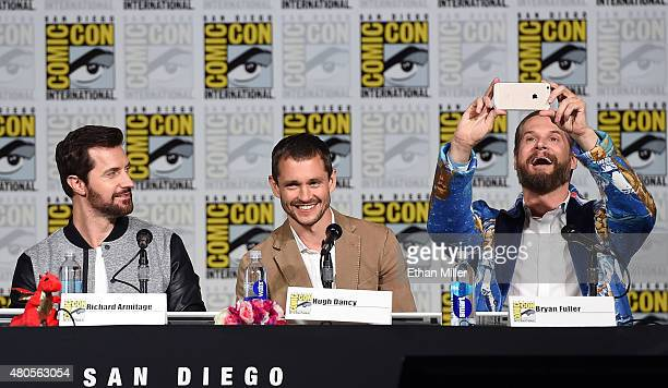 Actors Richard Armitage and Hugh Dancy and executive producer/creator Bryan Fuller attend the 'Hannibal' Savor the Hunt panel during ComicCon...