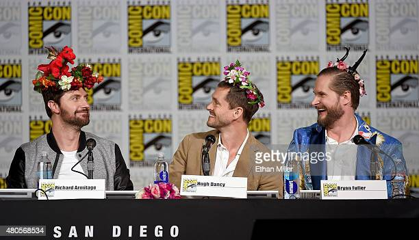 Actors Richard Armitage and Hugh Dancy and executive producer/creator Bryan Fuller wear flower crowns at the 'Hannibal' Savor the Hunt panel during...