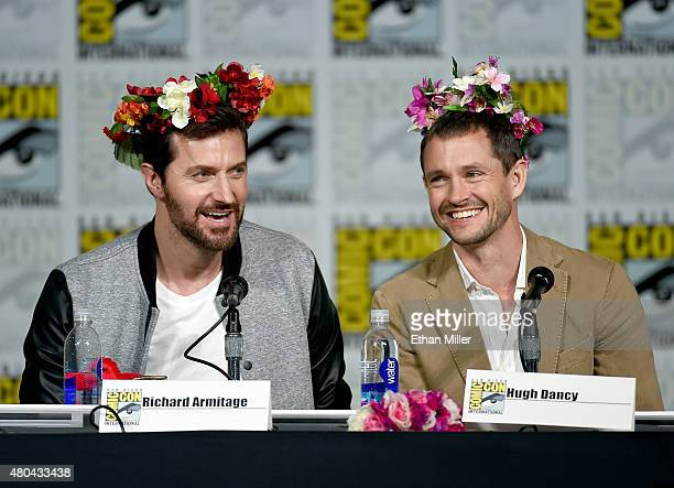 Actors Richard Armitage and Hugh Dancy speak onstage at the Hannibal Savor the Hunt panel during ComicCon International 2015 at the San Diego...