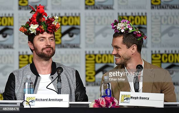 Actors Richard Armitage and Hugh Dancy wear flower crowns at the 'Hannibal' Savor the Hunt panel during ComicCon International 2015 at the San Diego...