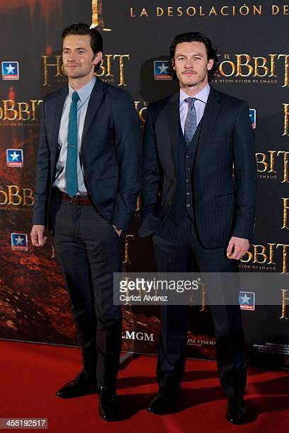 Actors Richard Armitage and Luke Evans attend the The Hobbit The Desolation of Smaug premiere at the Kinepolis cinema on December 11 2013 in Madrid...