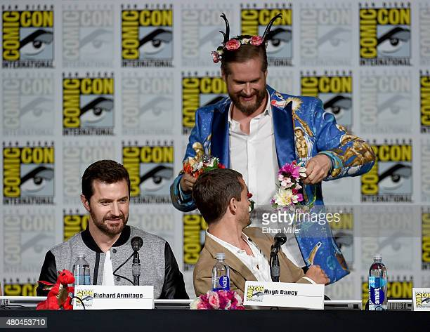 Actors Richard Armitage Hugh Dancy and creator/executive producer Bryan Fuller attend the 'Hannibal' Savor the Hunt panel during ComicCon...