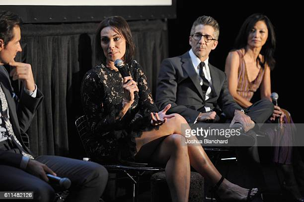 Actors Richard Armitage Michelle Forbes Leland Orser and Tamyln Tomita speak during EPIX 'Berlin Station' LA premiere at Milk Studios on September 29...