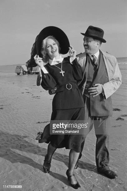 Actors Richard Attenborough and Lee Remick filming a scene of British comedy film 'Loot', UK, 23rd September 1969.