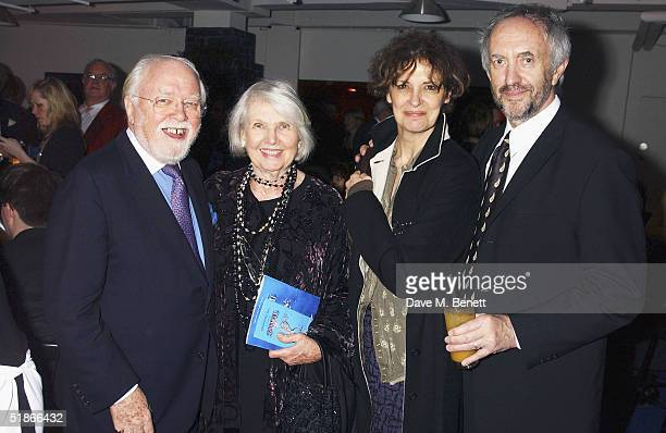 Actors Richard Attenborough Sheila Sim Kate Fahy and Jonathan Pryce attend the backstage afterparty following the London Premiere and Press Night for...