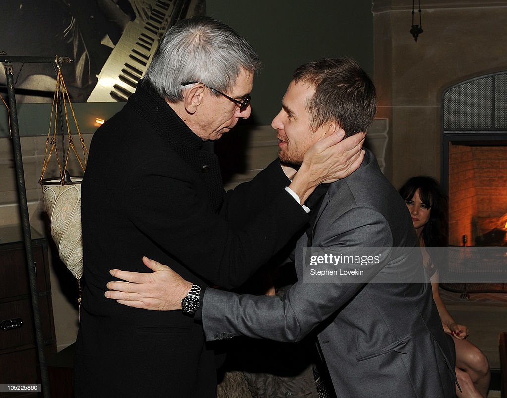 Actors Richard Belzer and Sam Rockwell attend the Cinema Society & Laura Mercier host the after party for 'Conviction' at Soho Grand Hotel on October 12, 2010 in New York City.