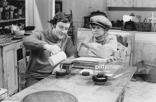 Actors Richard Briers and Felicity Kendal in a scene the television sitcom 'The Good Life' March 20th 1977