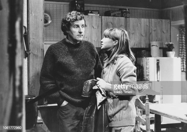 Actors Richard Briers and Felicity Kendal in a scene the television sitcom 'The Good Life' 1976