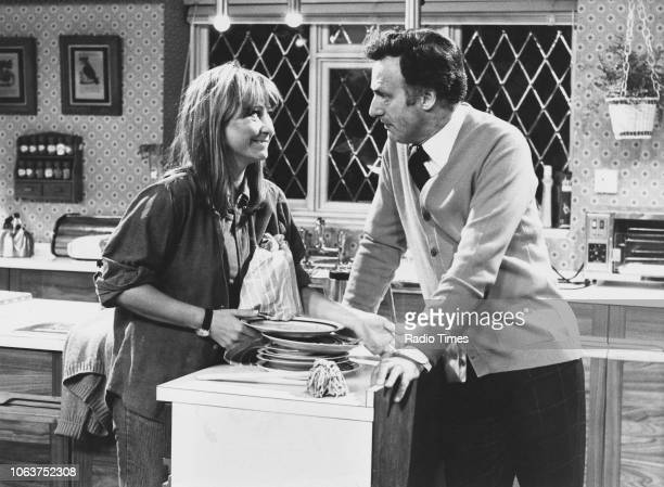 Actors Richard Briers Penelope Keith Paul Eddington and Felicity Kendal in a scene from the television show 'The Good Life' November 2nd 1975
