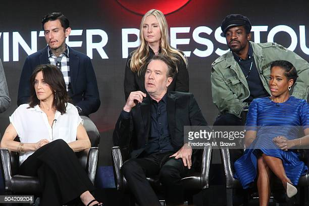 Actors Richard Cabral Hope Davis Andre Benjamin Felicity Huffman Timothy Hutton and Regina King speak onstage during ABC's American Crime panel as...