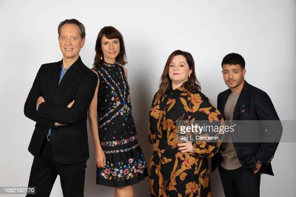 Actors Richard E Grant Dolly Wells Melissa McCarthy and Christian Navarro from 'Can You Ever Forgive Me' are photographed for Los Angeles Times on...