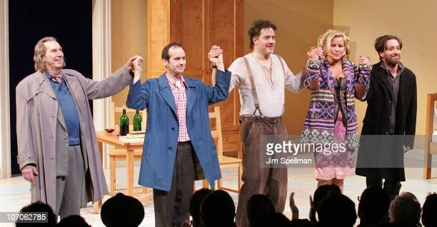 Actors Richard Easton Denis O'Hare Brendan Fraser Jennifer Coolidge and Jeremy Shamos attend the Broadway opening night of Elling at the Ethel...