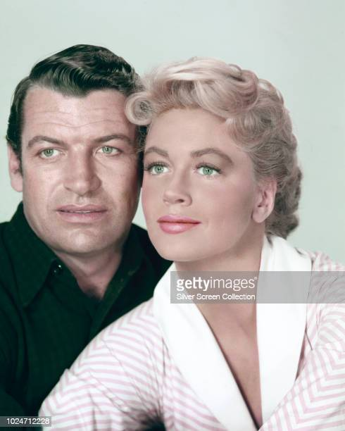 Actors Richard Egan as Wes Tancred and Dorothy Malone as Lorna Miller in a publicity still for the film 'Tension at Table Rock' 1956