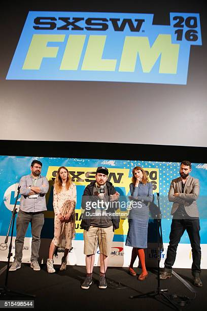 Actors Richard Elis and Laura Patch director Jamie Adams and actors Dolly Wells and Tom Cullen speak onstage during the premiere of Black Mountain...