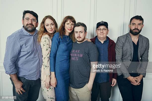 Actors Richard Elis Laura Patch Dolly Wells director Jamie Adams cinematographer Ryan Owen Eddleston and actor Tom Cullen of 'Black Mountain Poets'...