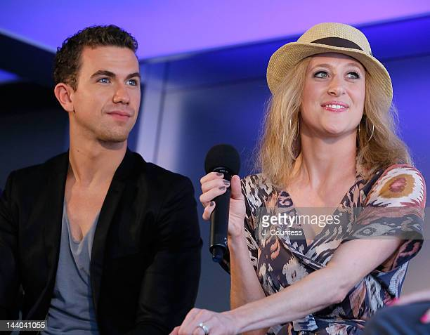 Actors Richard Fleeshman and Caissie Levy of Ghost the Musical onstage during a QA at the Apple Store West 14th Street on May 8 2012 in New York City