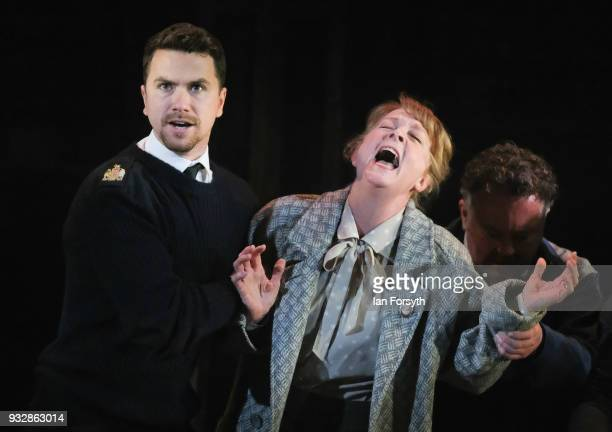 Actors Richard Fleeshman and Charlie Hardwick take part in rehearsals during 'The Last Ship' photocall at Northern Stage on March 16 2018 in...