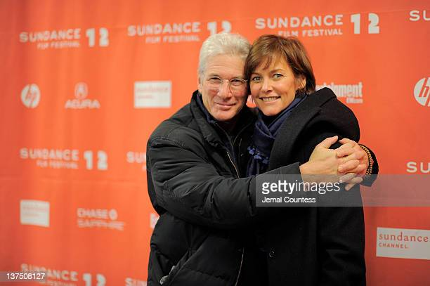 Actors Richard Gere and Carey Lowell attend the Arbitrage Premiere at the Eccles Center Theatre during the 2012 Sundance Film Festival on January 21...