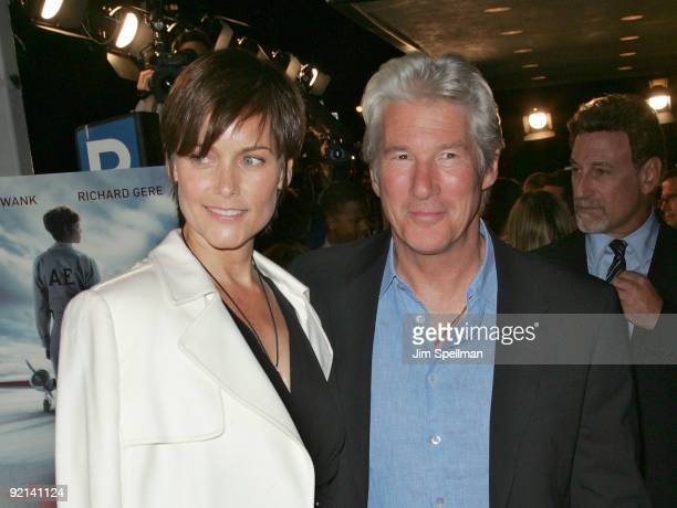 Actors Richard Gere and Carey Lowell attend the premiere of Amelia at The Paris Theatre on October 20 2009 in New York City