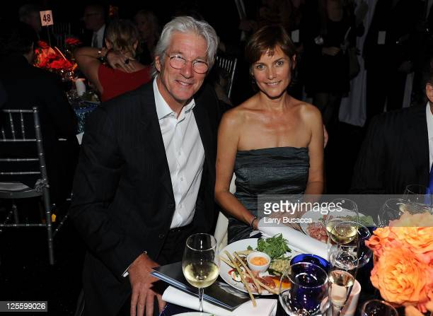 Actors Richard Gere and Carey Lowell attend Tony Bennett's 85th Birthday Gala Benefit for Exploring the Arts at The Metropolitan Opera House on...