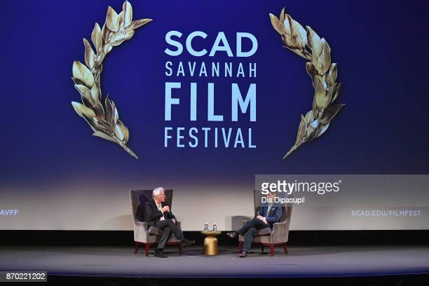 Actors Richard Gere and Dave Karger speak onstage at 'Norman' QA during the 20th Anniversary SCAD Savannah Film Festival on November 4 2017 in...