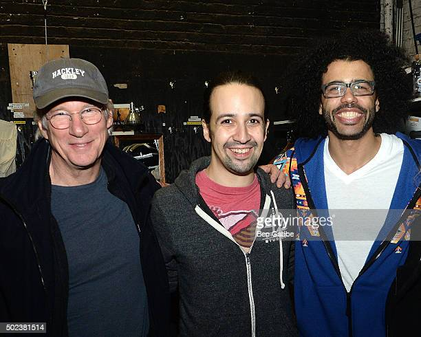 Actors Richard Gere Lin Manuel Miranda and Daveed Diggs attend Broadway's 'Hamilton' at Richard Rodgers Theatre on December 23 2015 in New York City