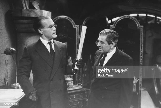 Actors Richard Gibson and John Louis Mansi in a scene from episode 'The Crooked Fences' of the television sitcom ''Allo 'Allo' August 4th 1989