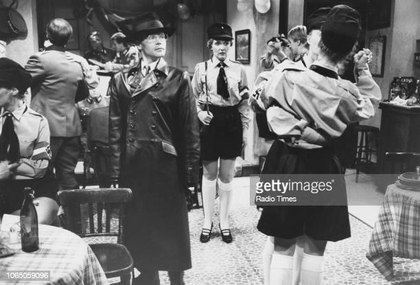 Actors Richard Gibson and Kim Hartman in a scene from the television sitcom ''Allo 'Allo' June 15th 1984