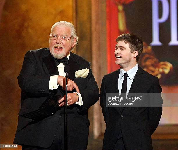 Actors Richard Griffiths and Daniel Radcliffe present the Tony for Best Play onstage during the 62nd Annual Tony Awards held at Radio City Music Hall...