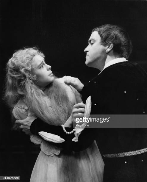 Actors Richard Hampton as Hamlet and Hywel Bennett as Ophelia during rehearsals for an all-male production of Shakespeare's 'Hamlet' at the Queen's...