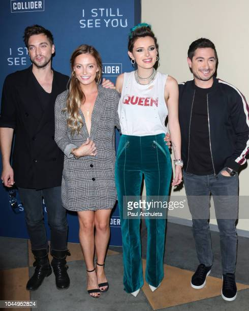Actors Richard Harmon Sara Thompson Bella Thorne and Jason Fuchs attends the special screening of I Still See You at The ArcLight Sherman Oaks on...
