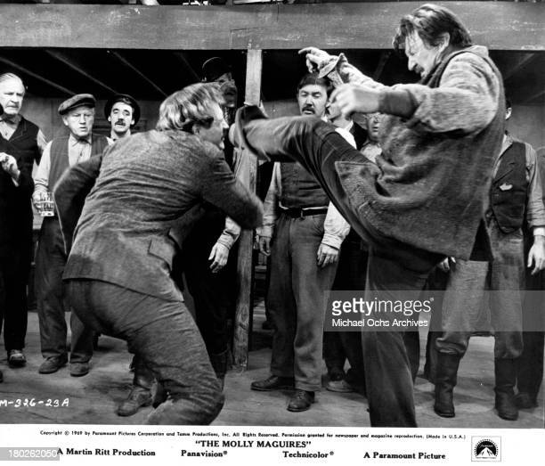 Actors Richard Harris and Art Lung on set of the Paramount Pictures movie 'The Molly Maguires' in 1970
