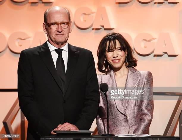 Actors Richard Jenkins and Sally Hawkins speak onstage during the 70th Annual Directors Guild Of America Awards at The Beverly Hilton Hotel on...