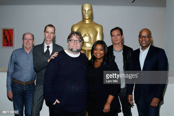 Actors Richard Jenkins Doug Jones writer director and producer Guillermo del Toro actors Octavia Spencer and Michael Shannon and AMPAS director of...