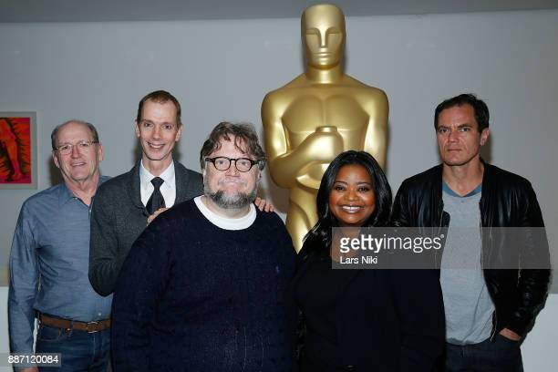 Actors Richard Jenkins Doug Jones writer director and producer Guillermo del Toro actors Octavia Spencer and Michael Shannon attend The Academy of...