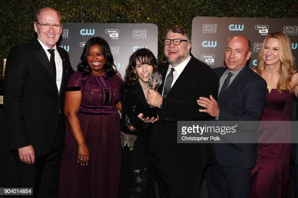Actors Richard Jenkins Octavia Spencer and Sally Hawkins director Guillermo del Toro and producer J Miles Dale winners of Best Picture for 'The Shape...