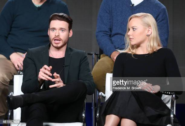 Actors Richard Madden and Abbie Cornish speak onstage during the 'Discovery Channel Klondike' panel discussion at the Discovery Communications...
