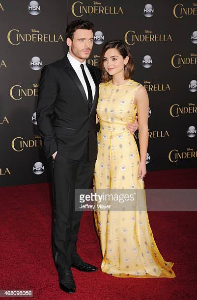 Actors Richard Madden and Jenna Coleman arrive at the World Premiere of Disney's 'Cinderella' at the El Capitan Theatre on March 1, 2015 in...