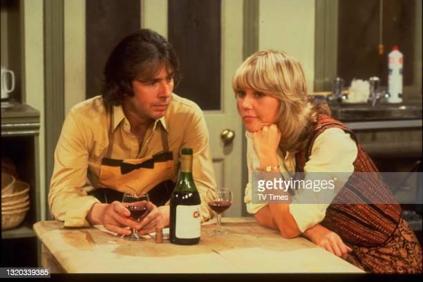 Actors Richard O'Sullivan and Tessa Wyatt in character as Robin Tripp and Vicky Nicholls on the set of sitcom Robin's Nest, circa 1979.