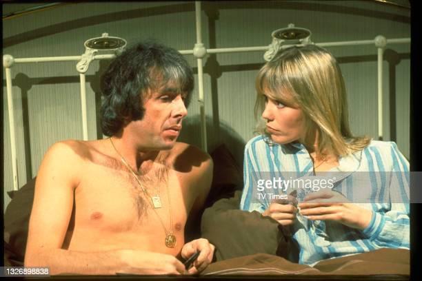 Actors Richard O'Sullivan and Tessa Wyatt in charcter as Robin Tripp and Vicky Nicholls on the set of sitcom Robin's Nest, circa 1980.