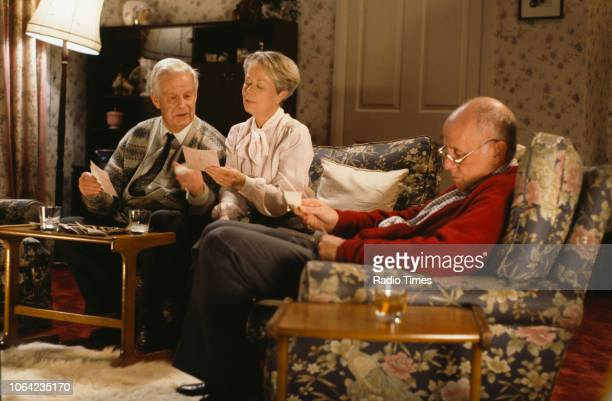 Actors Richard Pearson Annette Crosbie and Richard Wilson in a scene from episode 'The Broken Reflection' of the BBC Television sitcom 'One Foot in...